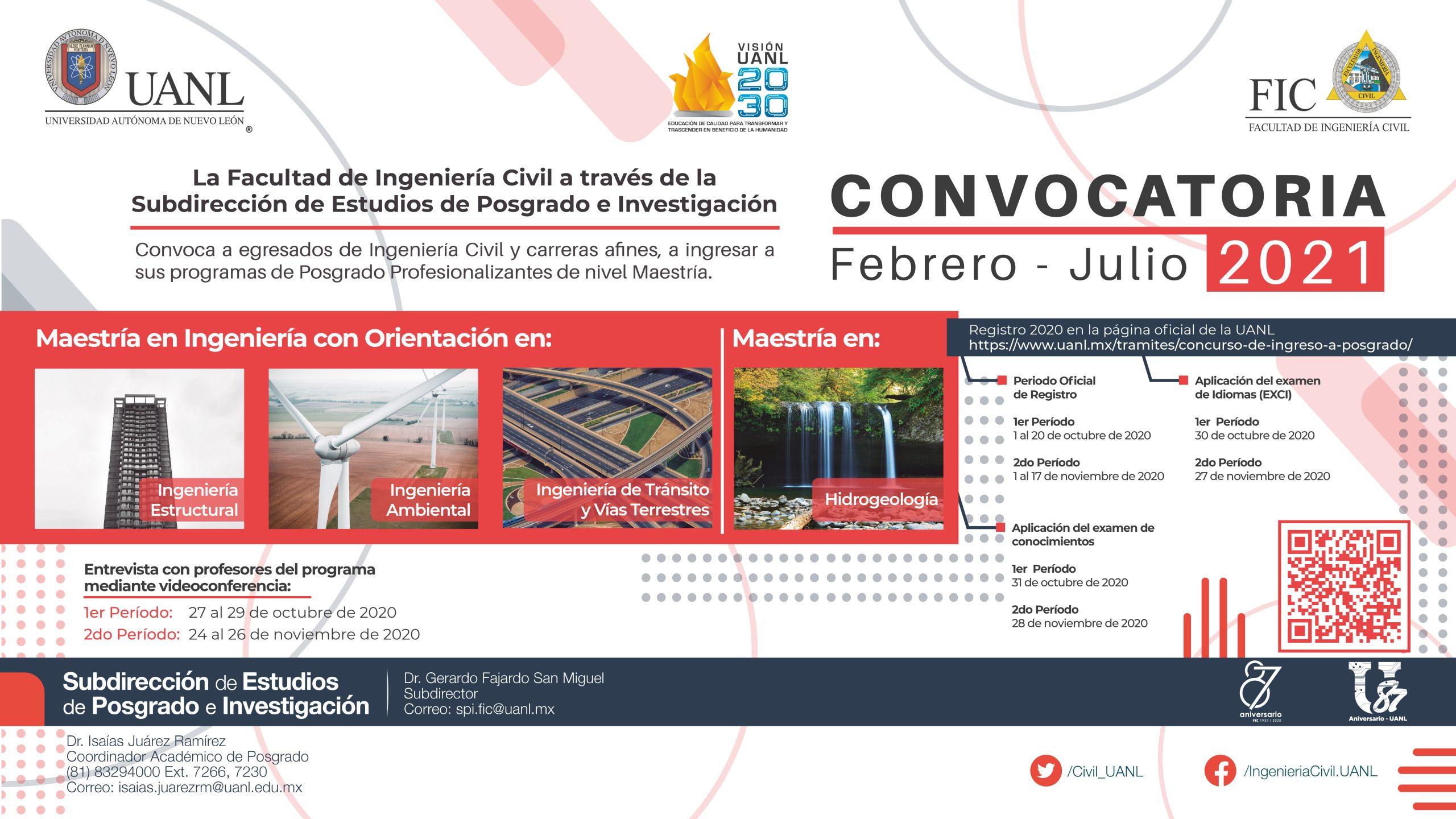 Facultad de Ingeniería Civil, UANL: Convocatoria Maestrías Profesionalizantes