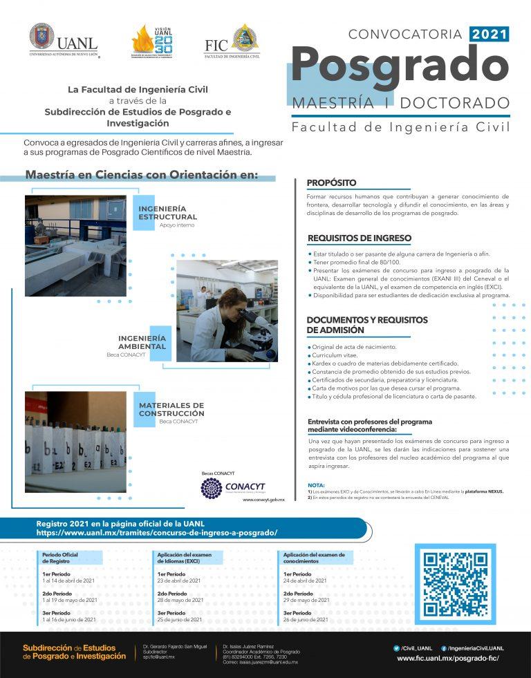 ultad de Ingeniería Civil, UANL: Convocatoria Maestrías Profesionalizantes